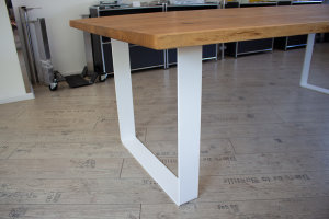 TGFwms 100x10 Vollmaterial Flachstahl rund gebogen Stahl weiß matt Struktur (Profil 10x1cm)