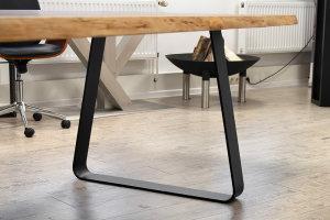 TGFsms 100x10 Trapez Vollmaterial Flachstahl rund gebogen Stahl schwarz matt Struktur (Profil 10x1cm)