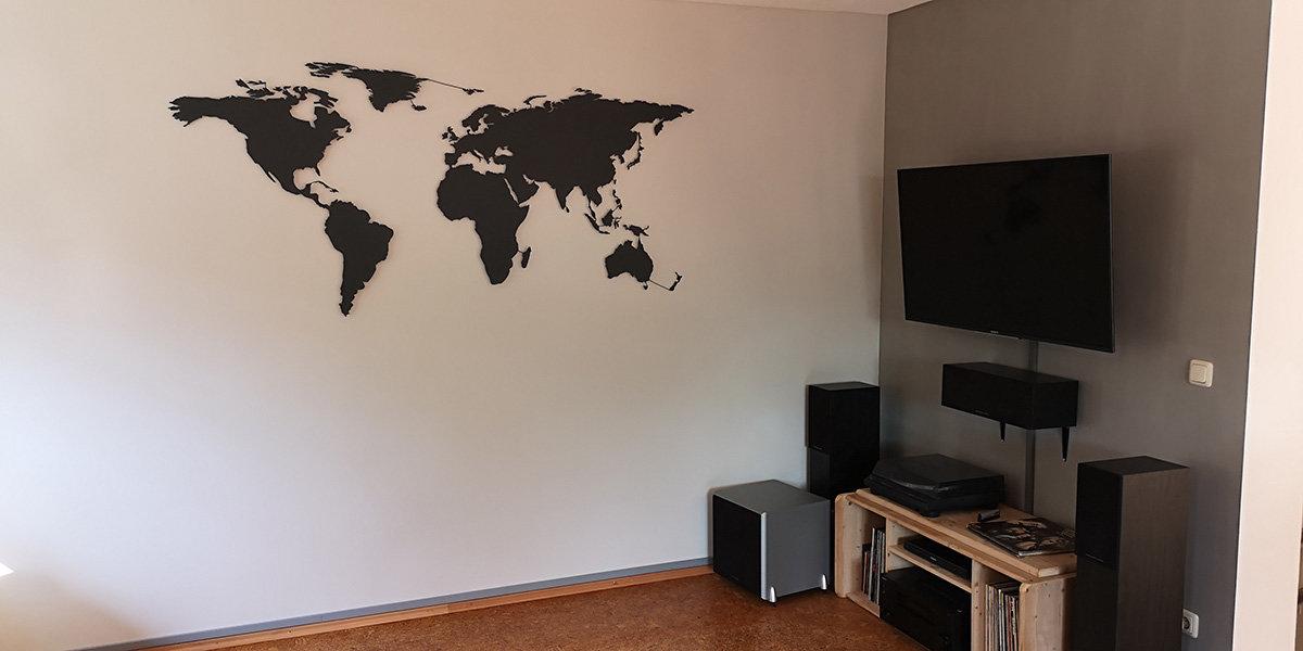 Weltkarte Wanddekoration anthrazit