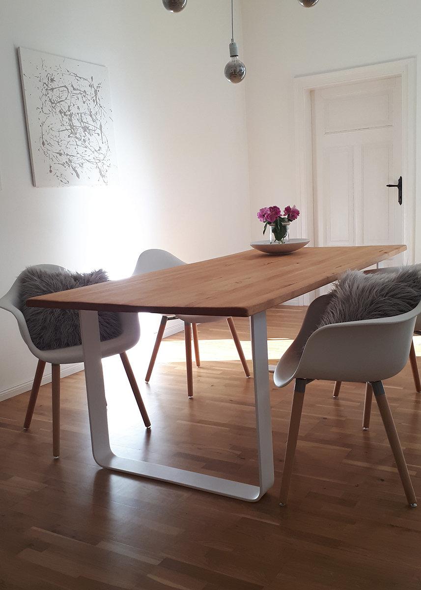 Esstisch Stahl Tischgestell weiss