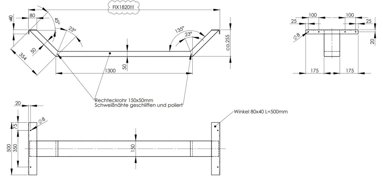 Technische Fertigungsskizze Doppelbett