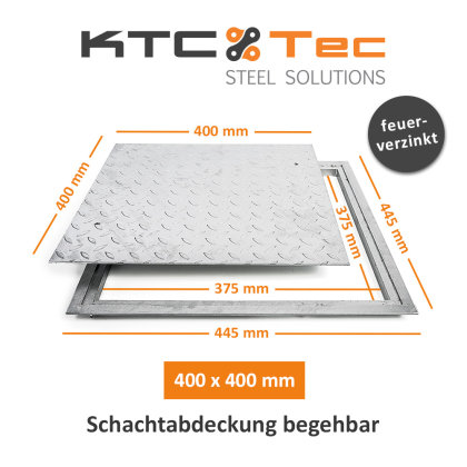SA-40 Stahl Schachtabdeckung verzinkt begehbar 400 x 400 mm Tränenblech Schachtdeckel Deckel mit Rahmen Kanalschacht quadratisch eckig