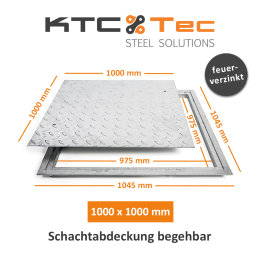 SA-100 Stahl Schachtabdeckung verzinkt begehbar 1000 x...