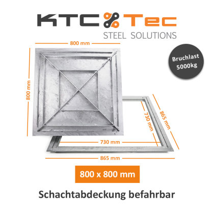 SAB-80 Stahl Schachtabdeckung verzinkt befahrbar 800 x 800 mm Tränenblech Schachtdeckel Deckel mit Rahmen Kanalschacht quadratisch eckig