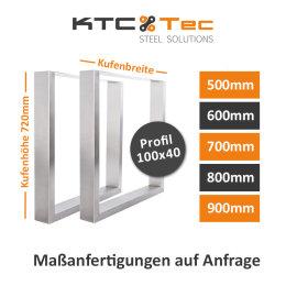 Tischgestell Edelstahl TU 100x40 500-900 mm Untergestell...