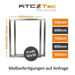 Tischgestell Edelstahl TRG 50x30 500-900 mm Untergestell Kufen Tischuntergestell