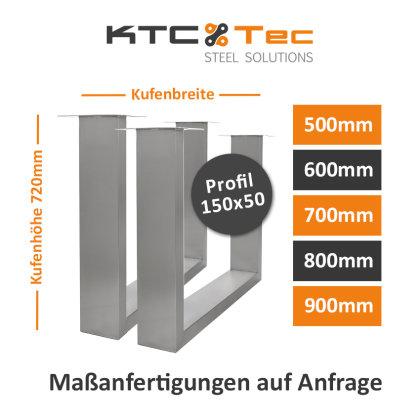 Tischgestell Edelstahl TUG 150x50 500-800 Untergestell Kufen Tischuntergestell