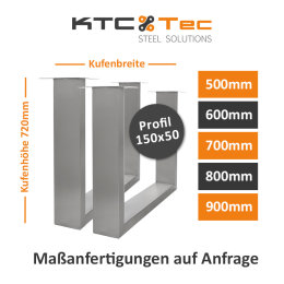Tischgestell Edelstahl TUG 150x50 500-800 Untergestell...