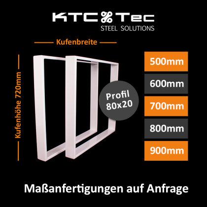 Tischgestell Stahl weiß Serie-TR80w Tischuntergestell Tischkufe Kufengestell Profil 80x20 mm