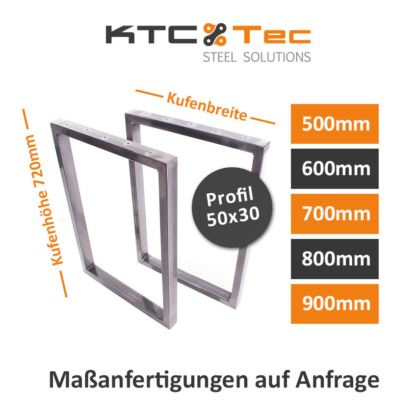 Tischgestell Rohstahl TRGkg 50x30 Tischuntergestell Tischkufe Kufenge