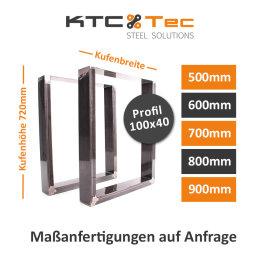 Tischgestell Rohstahl TU100k Tischuntergestell Tischkufe Kufengestell