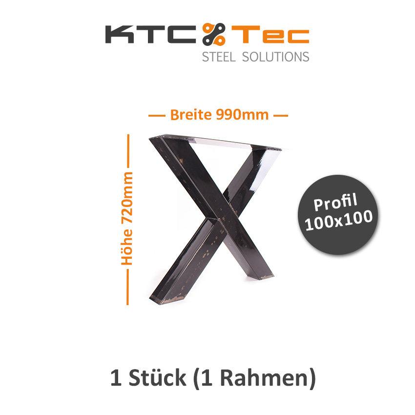 Tischgestell Rohstahl klarlack TUXk-990 breit Tischuntergestell Tisch