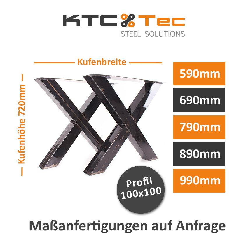 Tischgestell Rohstahl klarlack TUXk Tischuntergestell Tischkufe Kufen