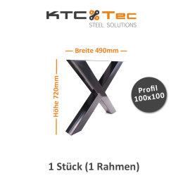 Tischgestell schwarz TUXs-490 breit Tischuntergestell Tischkufe Kufengestell (1 Rahmen)