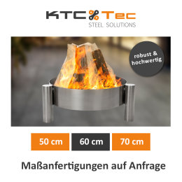 Profi Edelstahl Feuerschale Garten Feuerstelle Feuerkorb Pflanzschale Klöpperboden Terrasse - alle Größen