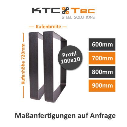 Tischgestell Rohstahl Klarlack matt TGF km 100x10 600-900 rund gebogen Tischkufe