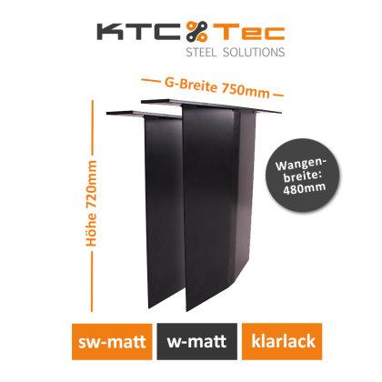 Stahlwange SWV48-s Tischuntergestell Tischgestell gebogen schwarz matt (1 Paar)