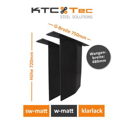 Stahlwange SWV48-k Tischuntergestell Tischgestell gebogen Rohstahl Klarlack matt Industrielook (1 Paar)