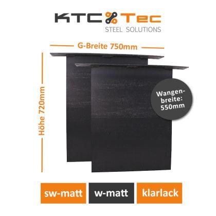Stahlwange SWG55-k Tischuntergestell Tischgestell gerade Rohstahl Klarlack matt Industrielook (1 Paar)