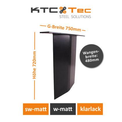 Stahlwange SWV48-s Tischuntergestell Tischgestell gebogen schwarz matt (1 Stück)