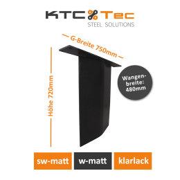 Stahlwange SWV48-k Tischuntergestell Tischgestell gebogen Rohstahl Klarlack matt Industrielook (1 Stück)