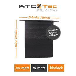 Stahlwange SWG55-k Tischuntergestell Tischgestell gerade Rohstahl Klarlack matt Industrielook (1 Stück)