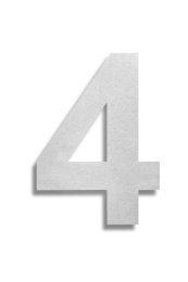 Hausnummer 4 Edelstahl V2A rostfrei 150mm