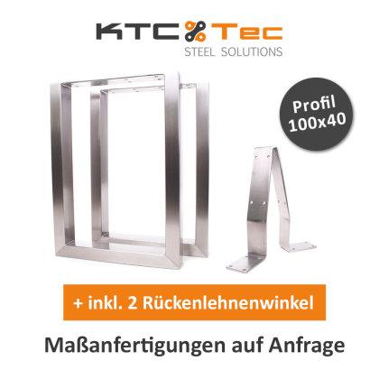 Bankgestell Edelstahl TU 100x40-400/380 40x38cm + 2x RLW Bankuntergestell Bankkufen Kufengestell Sitzbank Bank (1 Paar)