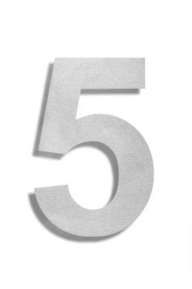 Hausnummer 5 Edelstahl V2A rostfrei 150mm