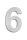 Hausnummer 6 Edelstahl V2A rostfrei 150mm