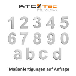Hausnummer 7 Edelstahl V2A rostfrei 150mm