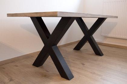 Tischgestell Stahl schwarz matt TUX 100x100 700 Tischkufe Kreuz X-Gestell Tischuntergestell 2 Stk