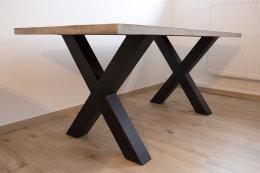 Tischgestell Stahl schwarz matt TUX 100x100 800 Tischkufe Kreuz X-Gestell Tischuntergestell 1 Stk