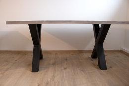 Tischgestell Stahl schwarz matt TUX 100x100 800 Tischkufe Kreuz X-Gestell Tischuntergestell 2 Stk