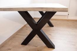 Tischgestell Stahl schwarz matt TUX 100x100 900 Tischkufe Kreuz X-Gestell Tischuntergestell 1 Stk