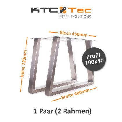Tischgestell Edelstahl TU 100x40 Trapez 600 Untergestell Tischuntergestell 2 Stk