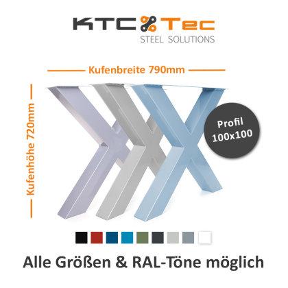 Tischgestell TUX-790 RAL Tischuntergestell Tischkufe Kufengestell Wunschfarbe blau grau silber grün (1 Paar)