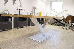 Kreuzgestell Stahl weiß matt Paris L1400 Tischgestell Küchentisch Esstisch Tischuntergestell X-Gestel