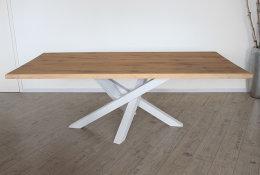 Kreuzgestell Stahl weiß matt MI-KADO 80x80 L1400 Tischgestell Küchentisch Esstisch Tischuntergestell X-Gestell
