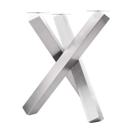 Tischgestell Edelstahl Tres Couchtisch Beistelltisch Dreibein Edelstahlgestell Tischkufen Modern Massiv Design Tisch Einteilig Kreuzgestell