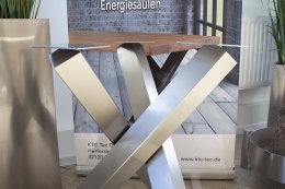Tischgestell Edelstahl V2A Tres 80x80 L600 für Holzplatten Tischgestell Küchentisch Esstisch Tischuntergestell X-Gestell