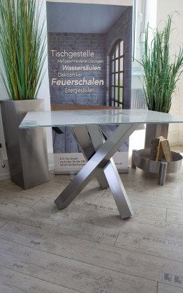 Tischgestell Edelstahl V2A Tres 80x80 L600 für Glasplatten Tischgestell Küchentisch Esstisch Tischuntergestell X-Gestell