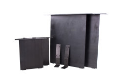 Stahlwangen Set gerade Rohstahl Klarlack matt + Bank + Rückenlehnenwinkel Tischuntergestell Tischgestell Industrielook (1 Set)