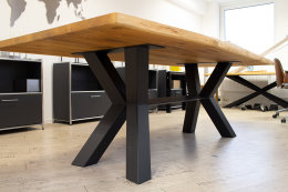 Kreuzgestell Stahl schwarz matt Raute Mittelsteg Tischgestell Küchentisch Esstisch Tischuntergestell X-Gestell einteilig