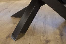 Kreuzgestell Rohstahl Klarlack matt MI-KADO 80x80 L1400 Tischgestell Küchentisch Esstisch Tischuntergestell X-Gestell