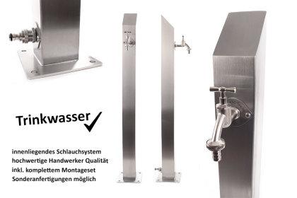 TRINKWASSER Wassersäule TSQS 1030 Edelstahl V2A, Wasserzapfsäule Wasserzapfstelle Gartenzapfstelle Zapfstelle Zapfsäule Bewässerung Garten Spender, quadratisch eckig