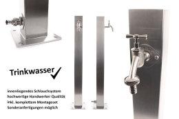 TRINKWASSER Wassersäule TSQG 950 Edelstahl V2A, Wasserzapfsäule Wasserzapfstelle Gartenzapfstelle Zapfstelle Zapfsäule Bewässerung Garten Spender, quadratisch eckig