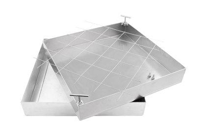 Schachtabdeckung Edelstahl SAP-100/5E Schachtdeckel auspflasterbar 1000x1000 befliesbar bepflanzbar befüllbar wasserdicht Höhe 50mm