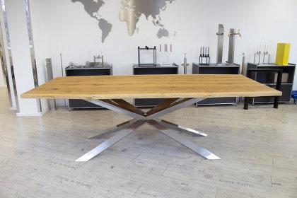 Kreuzgestell Edelstahl V2A poliert GX 80x40 L1600 Esstisch Tischgestell Wohnzimmer Tisch Küchentisch Tischuntergestell X-Gestell