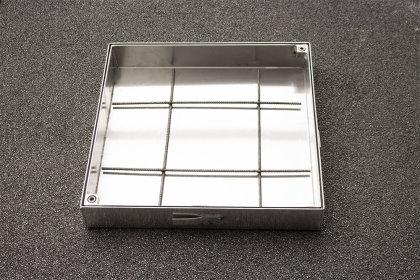 Schachtabdeckung Edelstahl SAP-100/8E Schachtdeckel auspflasterbar 1000x1000 befliesbar bepflanzbar befüllbar wasserdicht Höhe 80mm